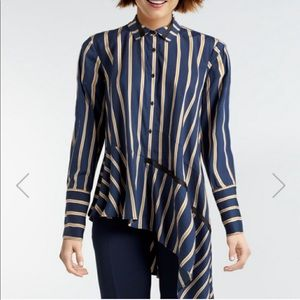 NWT Nanette Lepore asymmetrical striped button top